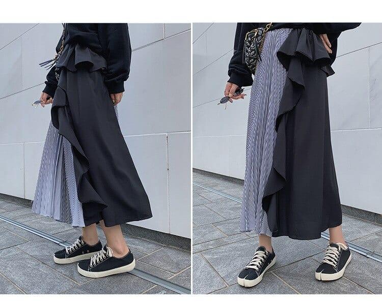 Treutoyeu Design Ins Fashion High Waist A Line Asymmetrical Skirts Womens Harajuku Striped Ruffles Maxi Long Skirt