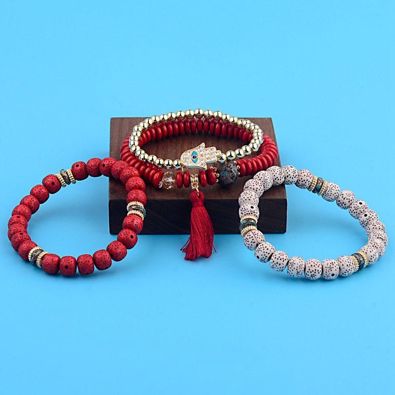 OIQUEI Vintage 4Pcs/Lot Women Bracelets Set Bohemia Charm CZ Hand Natural Stone Beads Tassel Pendents Bracelets Pour Les Femmes