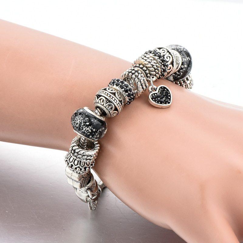 YADA Gifts (READY STOCK) BLACK Heart diy Bracelets&Bangles For Women Zircon Bracelets Crystal Jewelry Pulseras Mujer BT200217