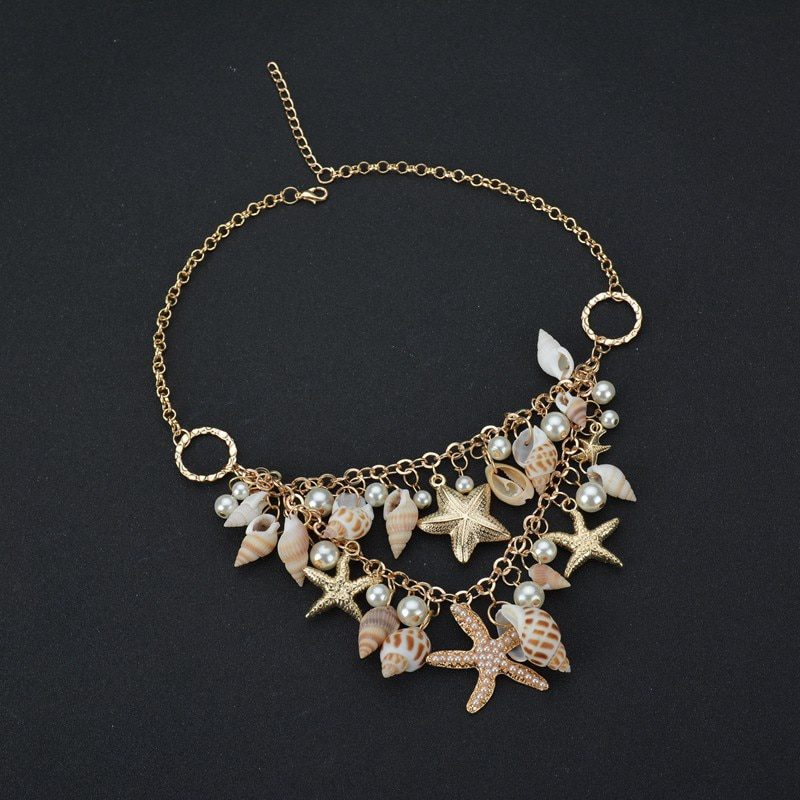 YADA Natural Seashell Present&Necklace For women Choker Chain Necklaces Statement Beach Shine Starfish Shell Necklace SE200004