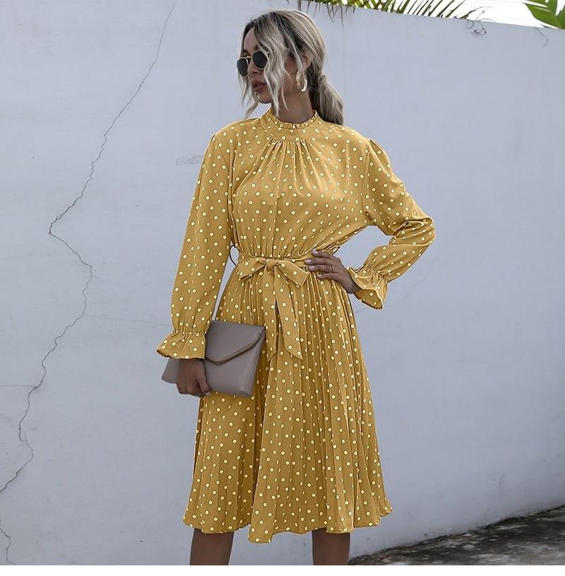 Polka Dot Print Dress Women Casual Half Turtleneck Butterfly Sleeve Autumn Winter Slim Bandage Dress For Women 2021 New Fashion