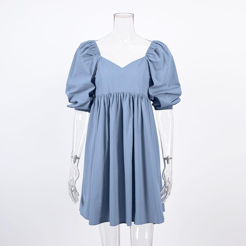 Women Mini Dress Elegant Square Collar Puff Short Sleeve High Waist A-line Party Dress Casual Cute Solid Streetwear Summer 2021