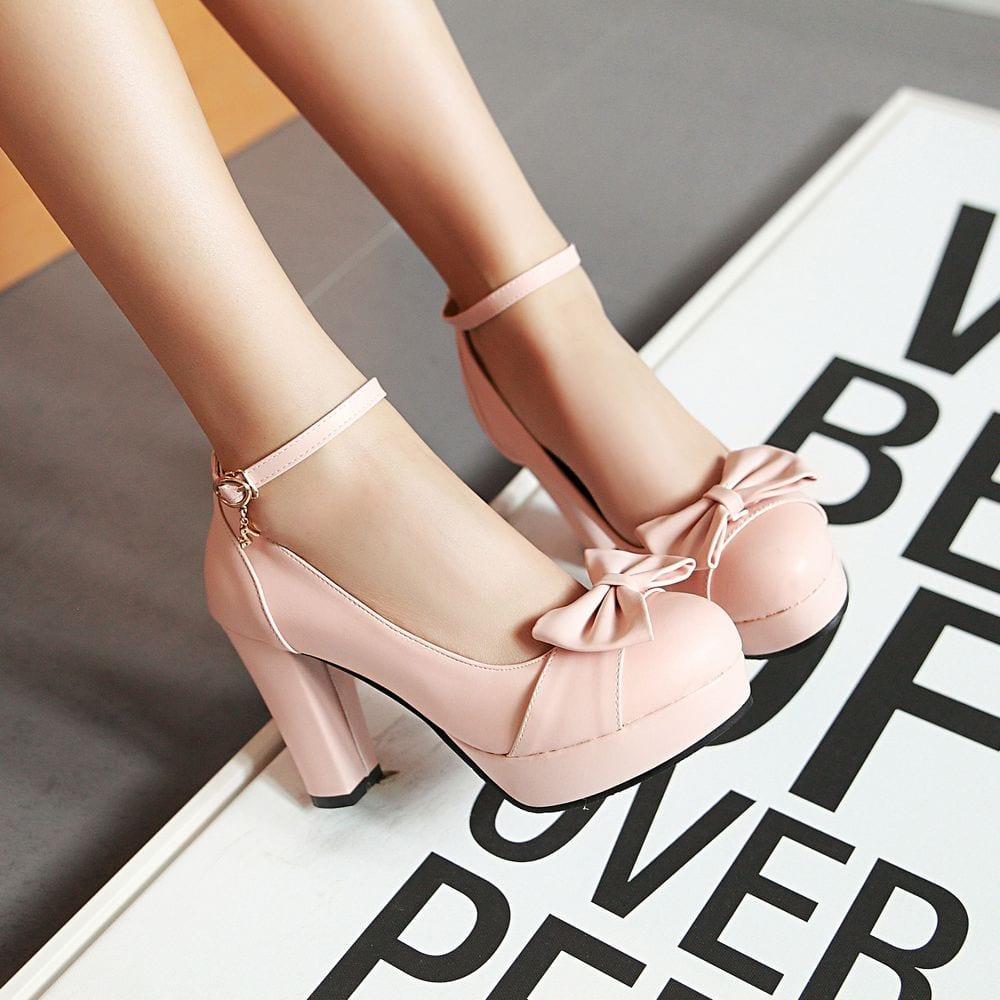 Women Sweet Bow High Heels Shoes High Heel Shoes Platform Bottom white Work Shoes Women Dress Wedding Shoes Big Size 43