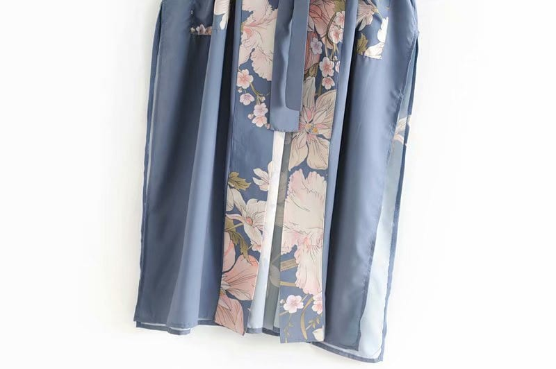 Fitshinling Flare Sleeve Beach Kimono With Sashes Side Split Print Pockets Slim Long Cardigan Holiday Cover-Up Autumn Outing New