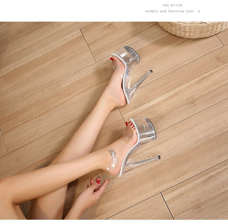 2020 New Walking Show Stripper Heels Clear Shoes Woman Platforms High Heels Sandals Women Sexy Fish Mouth Sandals size 34-43