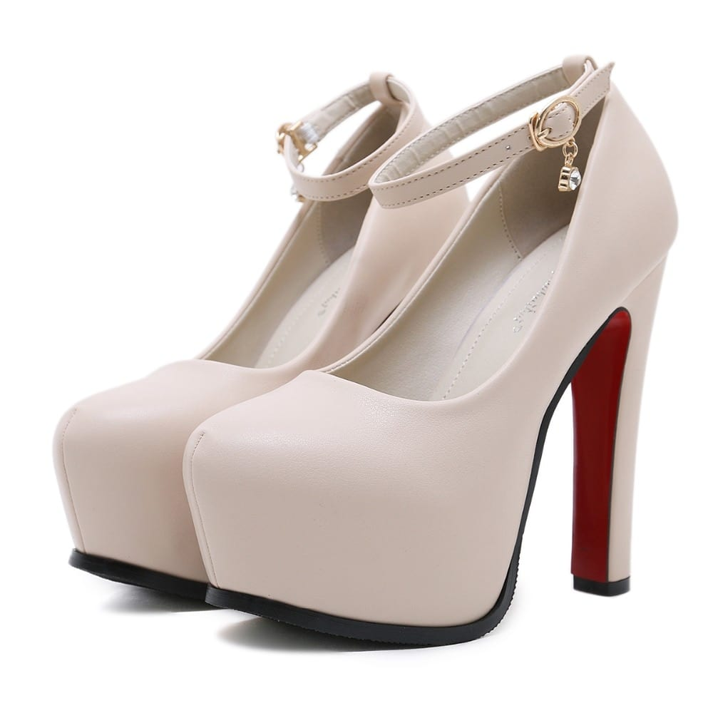 NIUFUNI Women Pumps Wedding Shoes Mary Jane Party Ankle Strap Pumps Platform Ladies Shoes Thick Heeled Black Beige Working Shoes