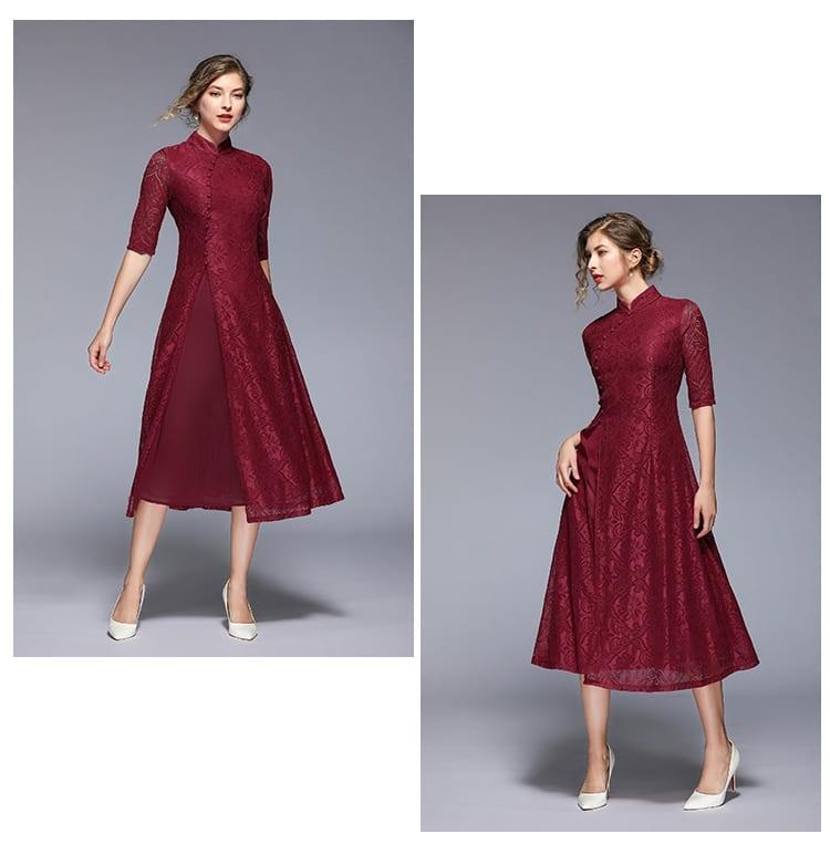 Trytree Summer Autumn Chinese Style Solid Dress Mandarin Collar Button Lace women Split Hem A-Line Mid-Calf Casual Dress