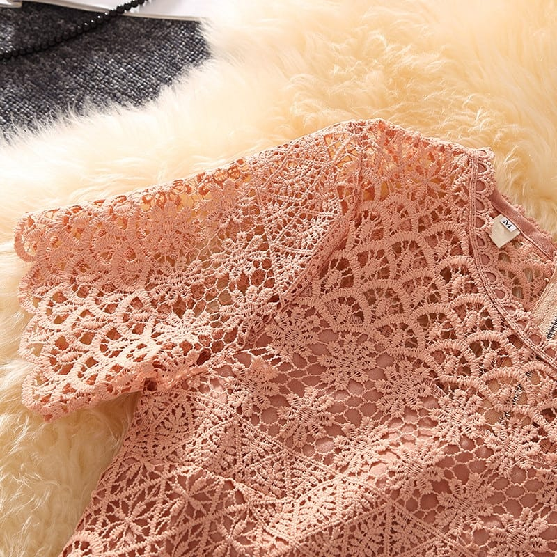 Vestidos Lace Dress Elegant Pink Women Short Slim Prom Party Dresses Short-Sleeve A-Line Casual Out going Dress Summer 2021