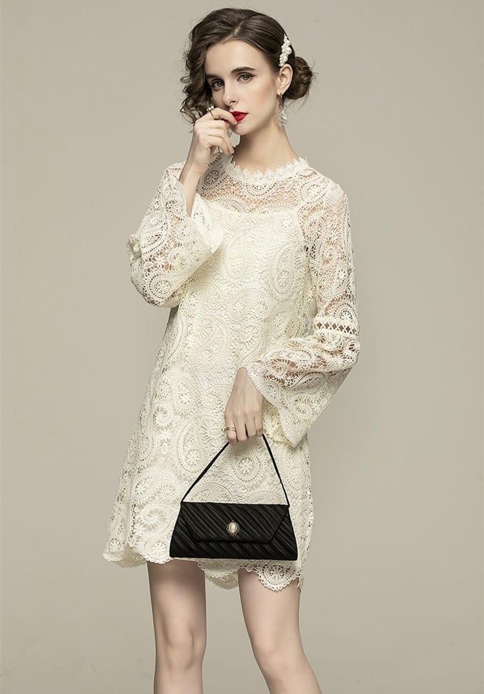 TESSCARA Women Spring Summer Elegant Lace Dress Festa High Quality Vintage Party Robe Femme Flare Sleeve Designer Short Vestidos