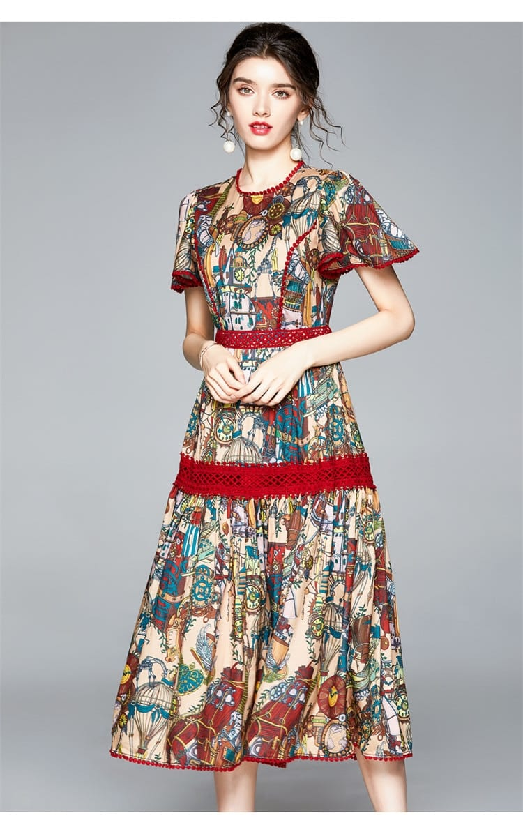 Vintage Flower Print Patchwork Lace Hollow Out Party Dress Women's Short Butterfly Sleeve Slim Waist Elegant Mid-Long Dress