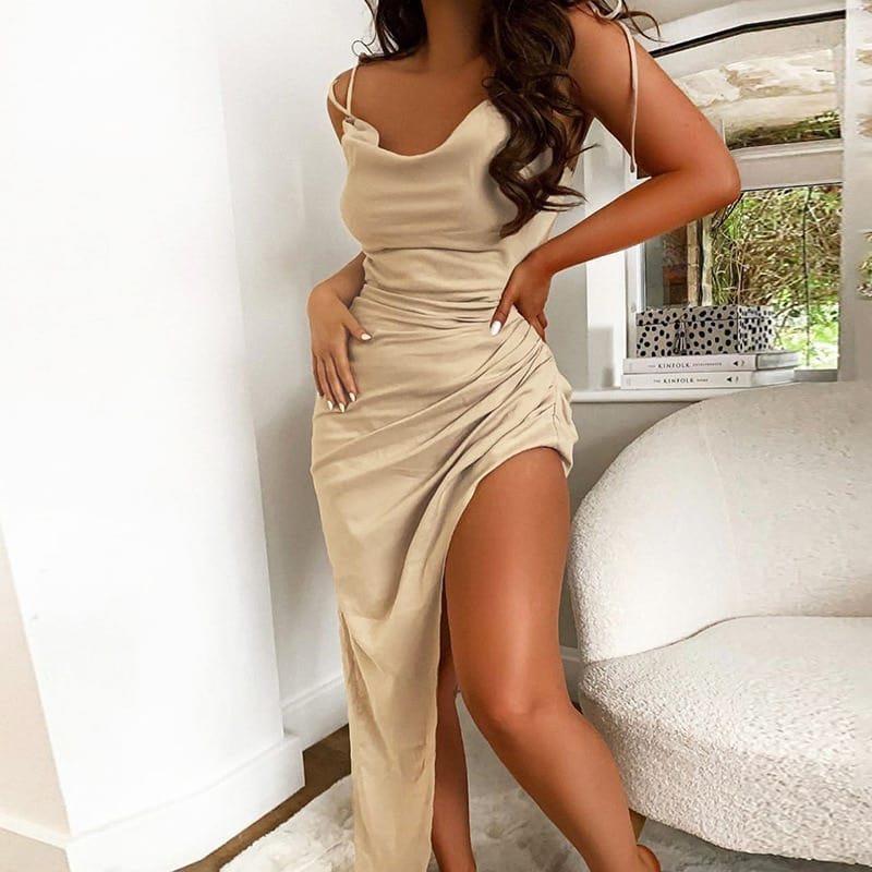 Justchicc Satin A line irregular Midi Dress 2020 Summer Adjust Spaghetti Strap Sexy Ruched Dress Backless Party Club Dress