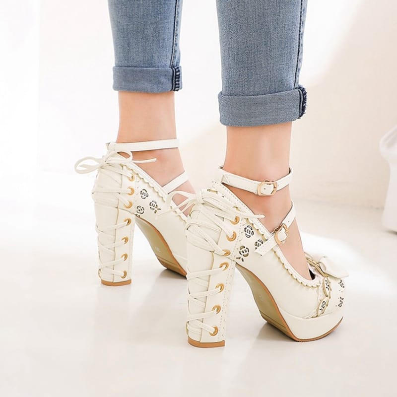 REAVE CAT Summer 2020 Ladies 2.5 Platform Cute Bow Lace Princess Mary Jane Lolita Shoes Party 10cm High Heel Buckle Big size 43
