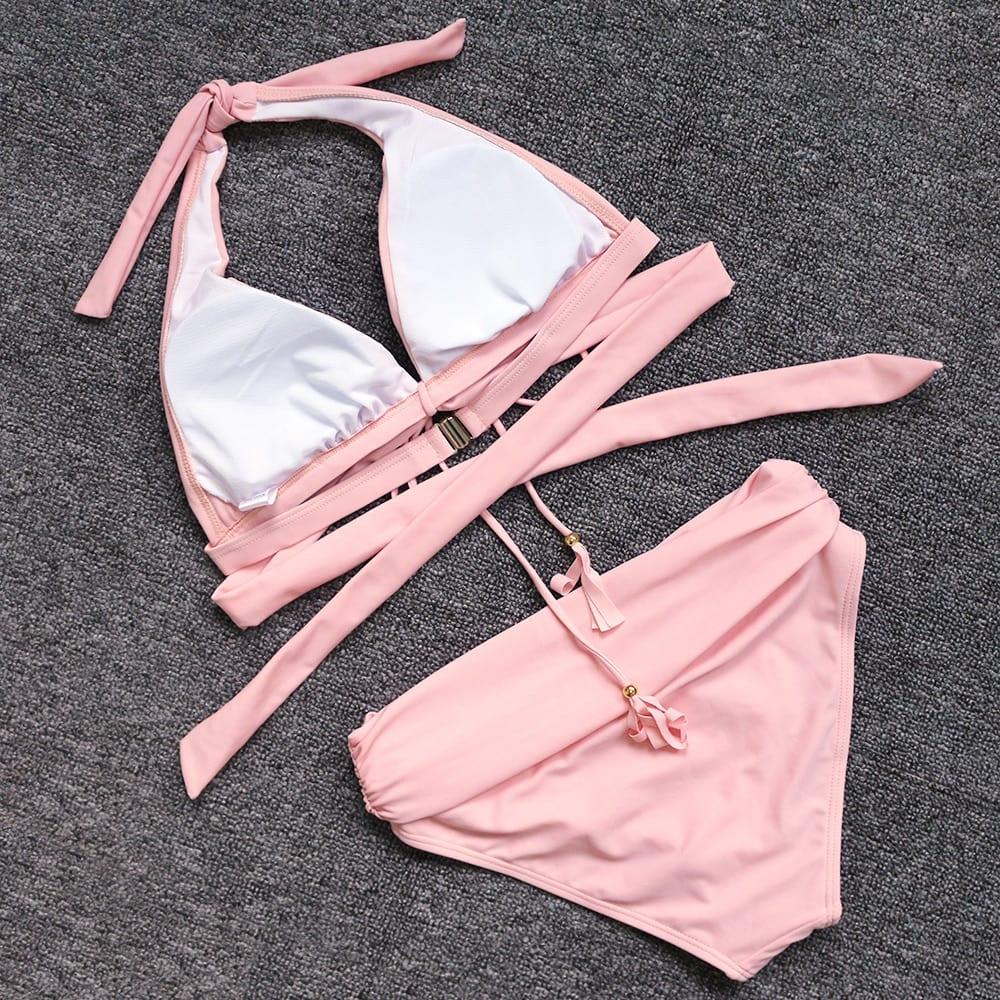 Sexy Pink High Waist Push Up Bikini 2021 Bandage Swimsuit Women Tassle Swimwear Beach Wear Swim Bathing Suit
