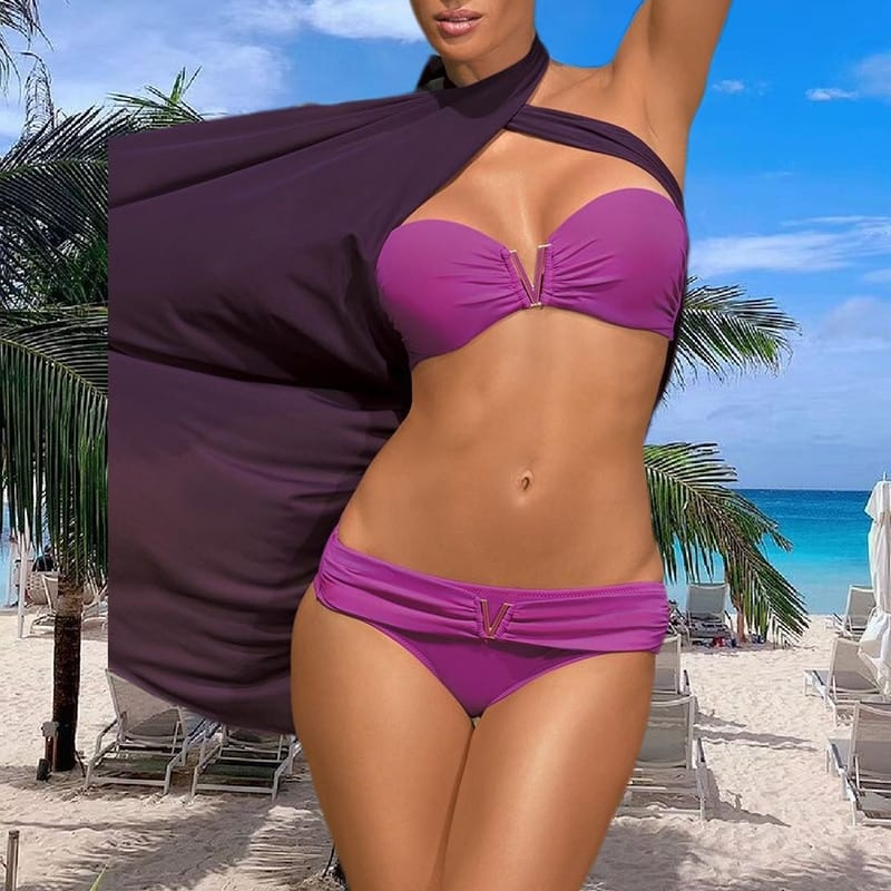 White push up woman swimsuit 2020 new Summer beach sexy bikini set solid swimming suit for women swimwear Bandeau bathing suit