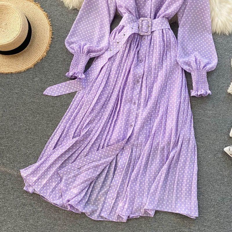 Spring Elegant Purple Women's Polka Dot Pleated Dress 2021 Korean Clothing Long Sleeve Vintage Chiffon Shirt Dress Feme Robe