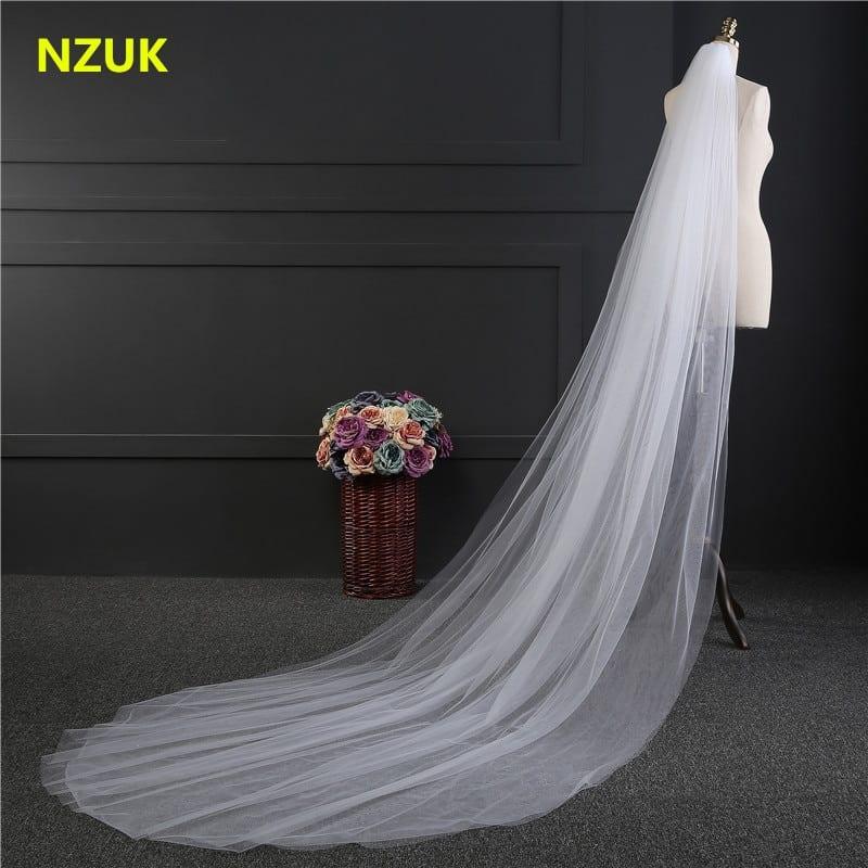 NZUK Elegant Wedding Accessories 3 Meters 2 Layer Wedding Veil White Ivory Simple Bridal Veil With Comb Wedding Veil Hot Sale