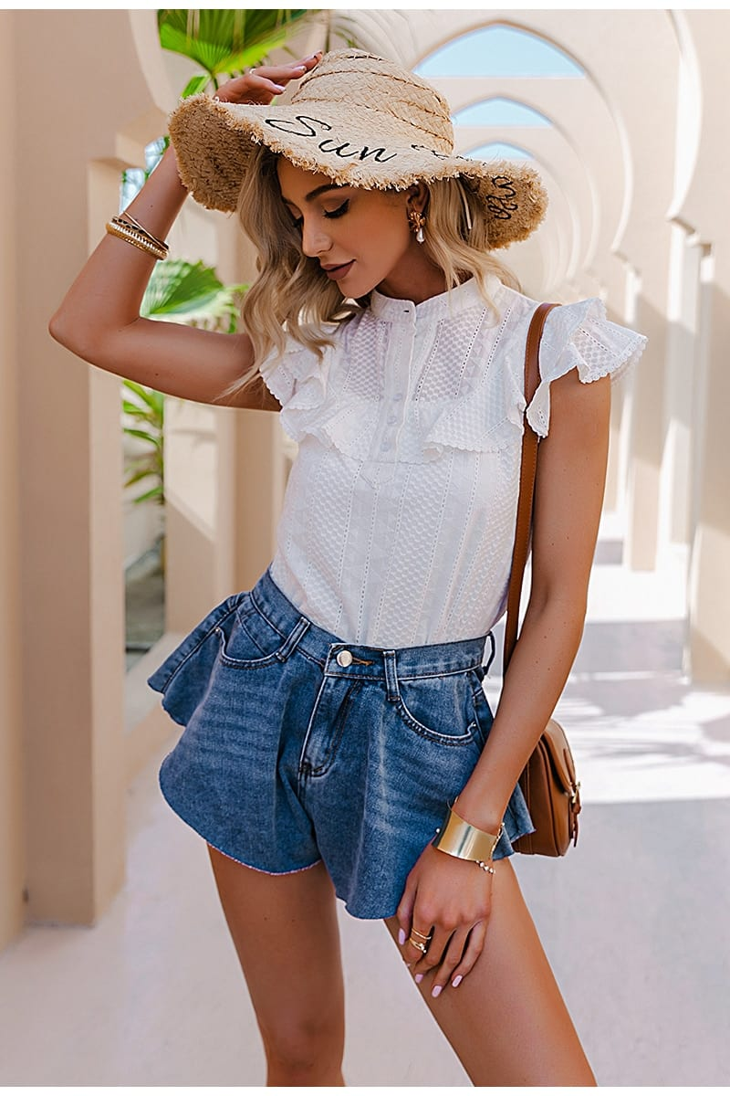Simplee Elegant casual solid ruffled lace women blouse spring Embroidery button band collar shirt female fashion summer top lady