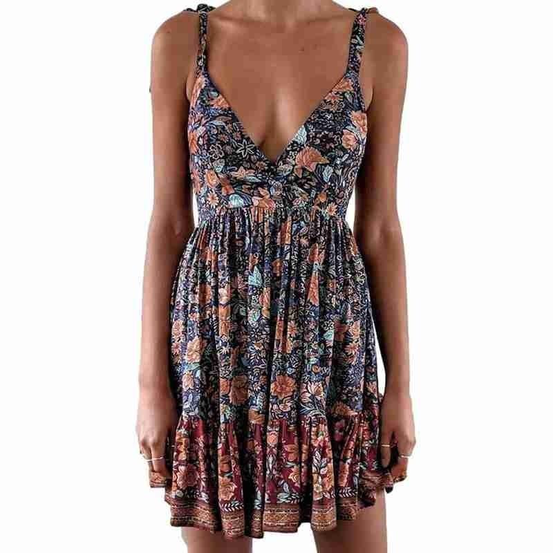 Summer Sexy Dress Women 2021 Backless V-neck Low-cut Print Flowery Party Mini Leopard Sling Sundress dresses Beach Dress Bo J8C7
