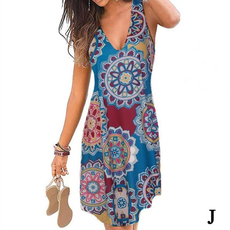 Women's Summer Beach Boho Dress Flowery Print Plus Size Knee-Length Sleeveless Dress Dresses A-Line V-neck Women Robes Loos L7J6