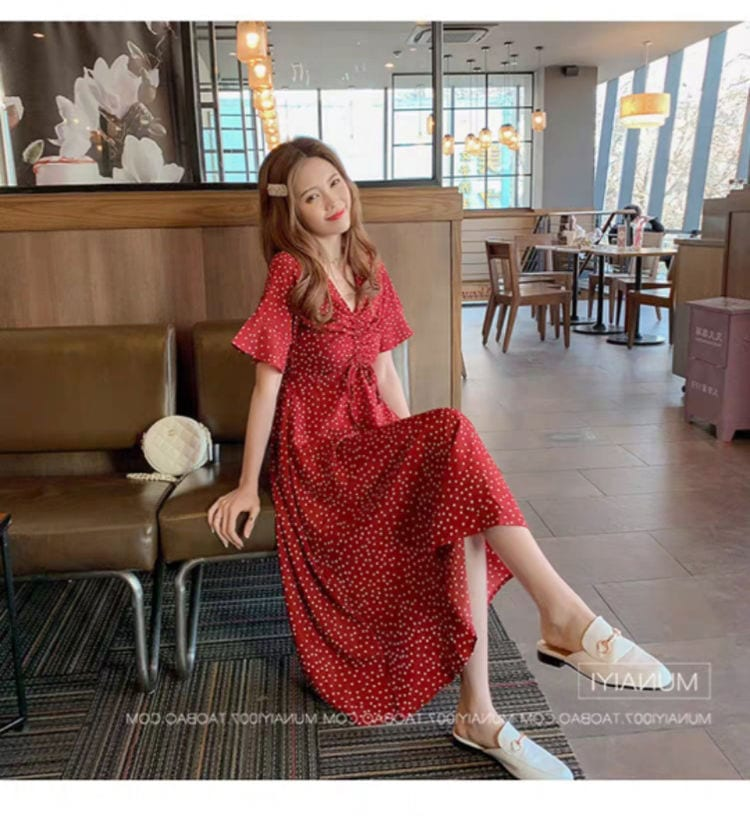Korean Girls Flowery Party French Dress Spring and Summer Printing Boho Beach V Neck Ladies Women Party Chic Unif Dress