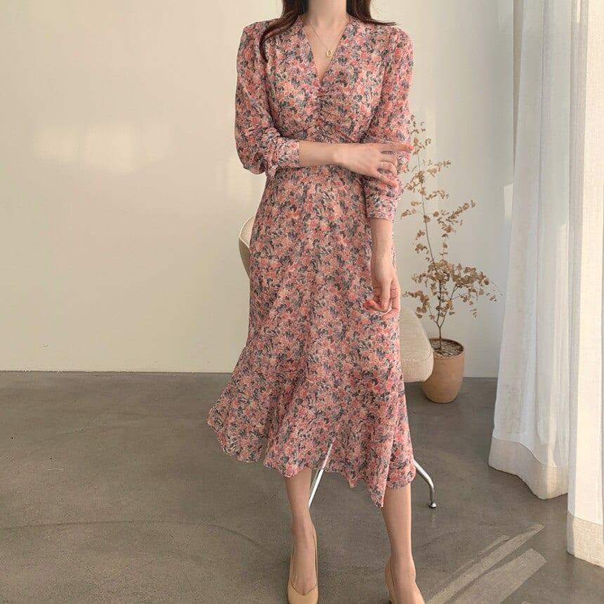 HEROOTD 2021 New Vintage V-neck Flowery Women's Pink Long Sleeve Dress Spring Summer High Waist Mid-Calf Korean Style Dress