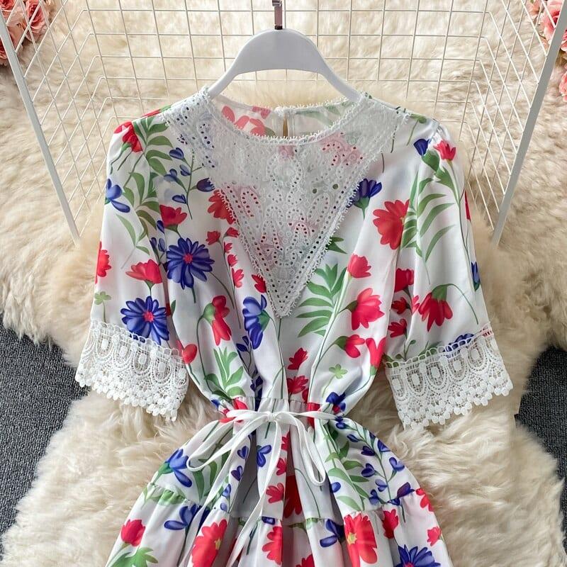 Fahion Long Flowery Dress Women Summer New High Waist Short Sleeve Lace Flower Printing Holiday Beach Dresses 2021 New